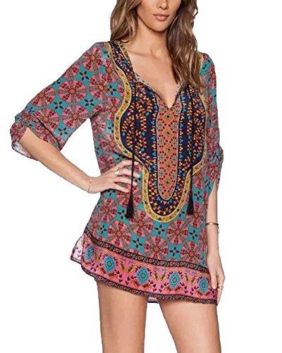 Ethnique Robe Vintage Robe Imprim Bohme Mini Cou Femmes 292 Style ShiFan Cravate wIHvO8nq6