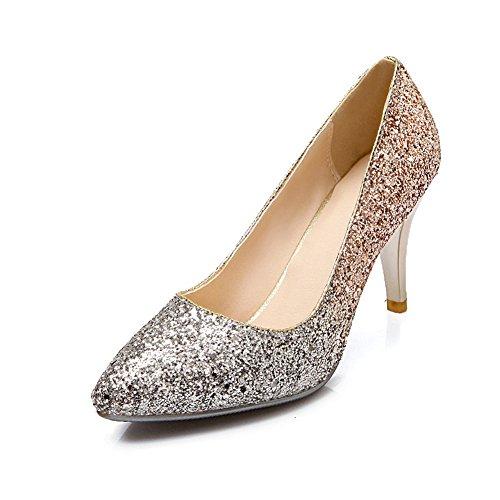 Scarpe Da Donna Con Tacco Alto, Scarpe Da Sposa, Brillantini, Paillettes, Oro E Argento