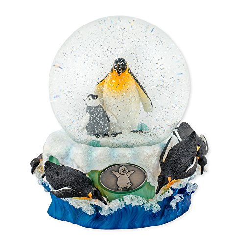 Playful Penguins 100mm Resin Glitter Water Globe Plays Tune Entertainer - Penguin Snowglobe