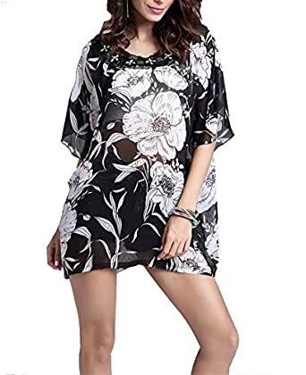 Honeystore Women's Bohemian Bat Sleeve Beaded Accented Plus Size Blouse Print Tunic