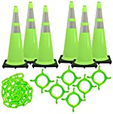 Mr. Chain - 36'' Traffic Cone and Chain Kit - Safety Green with Reflective Collars - 36'' Height - 14'' X 14'' base