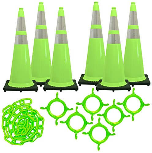 Mr. Chain Traffic Cone and Chain Kit, Safety Green with Reflective Collars, 36-Inch Height (97277-6)