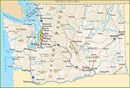 Amazon Com Washington State Road Map Glossy Poster Picture Photo