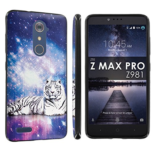 [POPCulture] Gummy Gel For ZTE [ZMAX PRO] [Carry Z981] [Blade X Max] [Black] Total Shock Absorption Bumper Slim-Fit Flexible TPU [Screen Protector]- [Space Tiger] Print Design