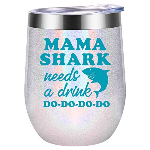 Gifts for Mom - Mama Shark Needs a Drink - Funny Mom Birthday Gifts - Christmas Gifts for Mom - Mom Gifts from Daughter, Son - Mommy Shark, New Mom, Pregnant Mom, Wife Gifts - Coolife Wine Tumbler Mug (Best Christmas Gifts For New Moms)