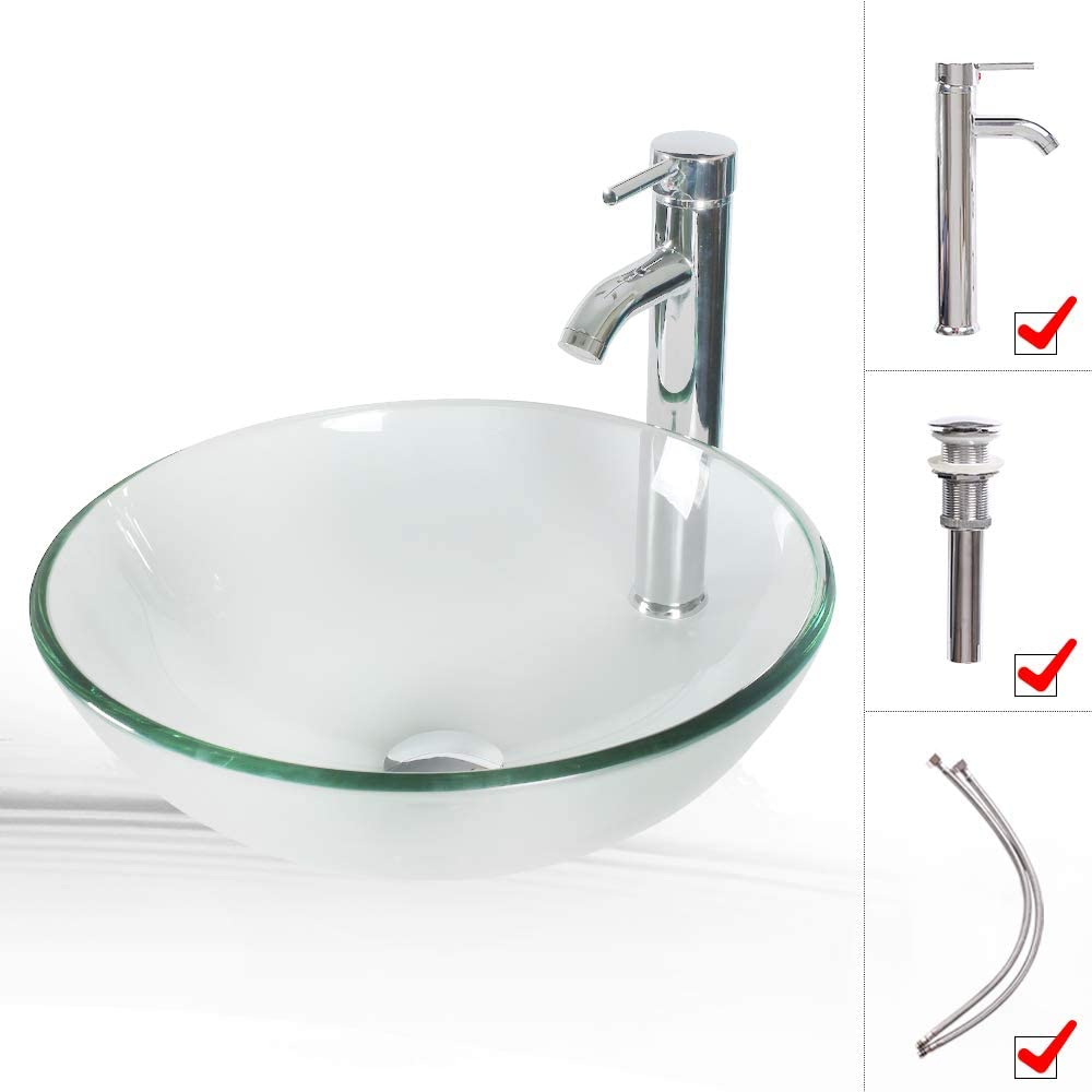LUCKWIND Bathroom Vessel Sink Combo Glass – Clear Crystal Tempered Glass Bowl with Faucet Pop Up Drain Single Hole Above Counter Lavatory Vanity Top Brass Hardware Chrome Finsh 16.5 1.5GPM Water Sense