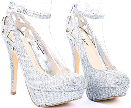 Womens Ericka Cut Out Ankle Strap High Stiletto Heel Platform Dress Pumps Silver 36SaX0yE