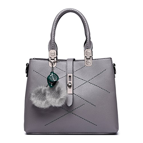 Lulu Bags for Grey Shoulder Handbags Pu Lady Leather Bags Office Handle Top Black Female Women Miss FUqCU