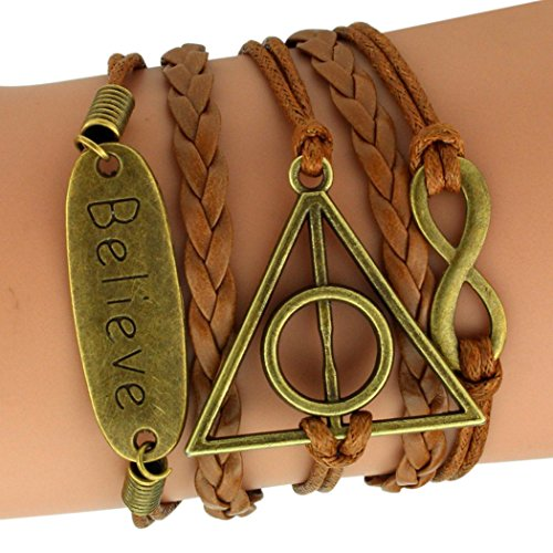 Time Pawnshop Bronze Deathly Hallows Believe Multilayer Adjustable Braided Unique Wristband - For Teenage Guys Cool Sunglasses