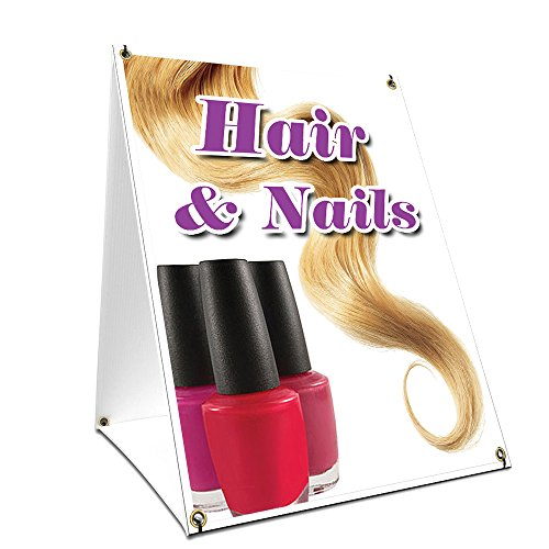 "A-frame Sidewalk Hair & Nails Sign With Graphics On Each Side | 24"" X 36"" Print Size from SignMission"