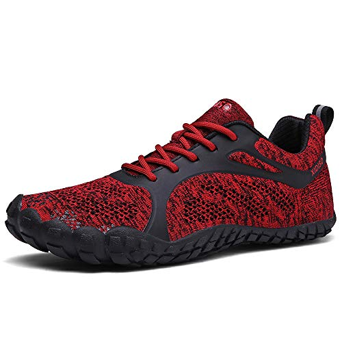 XIDISO Womens MensMinimalist Trail RunnersBarefoot Outdoor CrossTrainingHiking Shoes Red