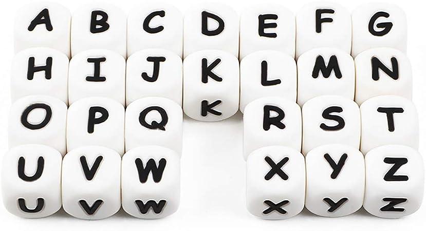 Letras del Alfabeto Granos de Silicona a Granel DIY Haga su Propio Kit Nombre Personalizado 12mm Mix BPA Free Cube Baby Dentición Masticar (104 Pcs): Amazon.es: Bebé