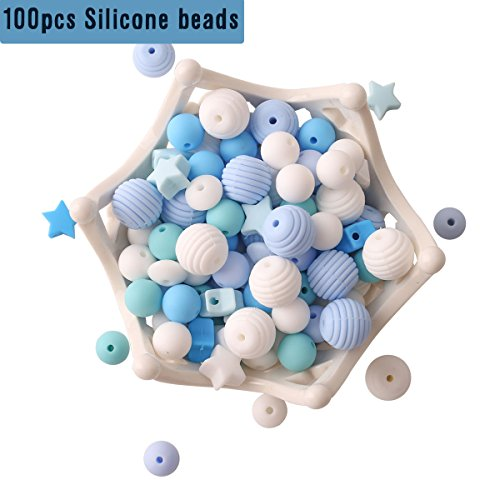HAO JIE Baby Silicone Teether Beads 100pcs BPA Free Food Grade Teething Beads Mint Series DIY Jewelry Chewable Nursing Necklace Accessories