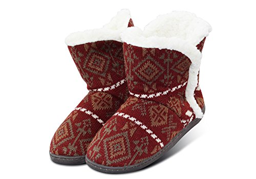 VLLY Women's Plush Thick Lining Booties With Memory Foam Sole US 7-8 Burgundy (FBA) (Plush Booties)
