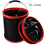 collapsible water bucket - VKOSHA Collapsible Bucket , Water Bag 12L 2000 D Oxford Cloth Multi-functional Fold-able, Portable Travel Outdoor Wash Basin,Perfect for Camping, Hiking, Travel, Fishing, Car Washing, Flower Watering