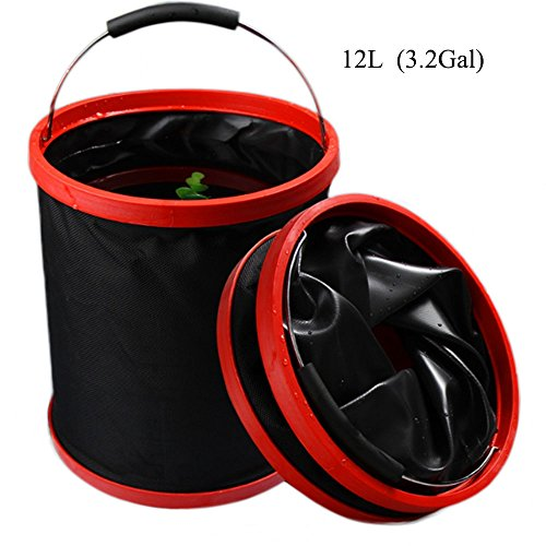 VKOSHA Collapsible Bucket , Water Bag 12L 2000 D Oxford Cloth Multi-functional Fold-able, Portable Travel Outdoor Wash Basin,Perfect for Camping, Hiking, Travel, Fishing, Car Washing, Flower (Fishing Supply Stores)
