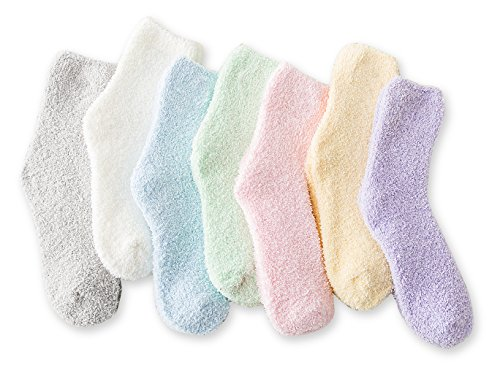 Women's Cozy Slipper Socks Fuzzy Sock 7 Pairs(7 Pairs Solid Color,4.5-8.5(Women Shoe))