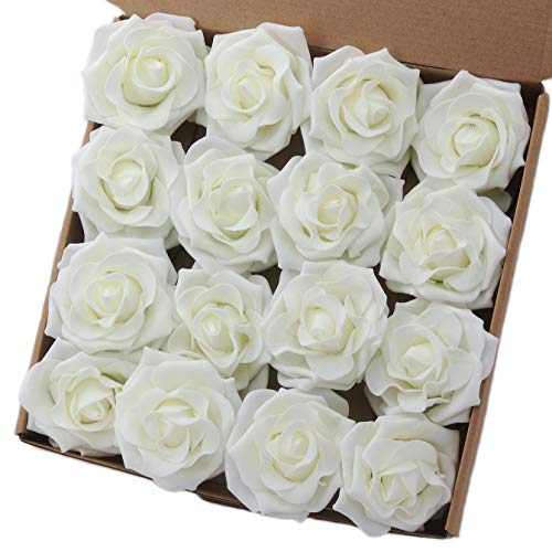 Breeze Talk Artificial Flowers 16pcs 4'' Artificial Avalanche Roses White Fake Roses Large Rose Bloom Head for DIY Wedding Bouquets Arrangements Centerpieces Décor (Ivory)
