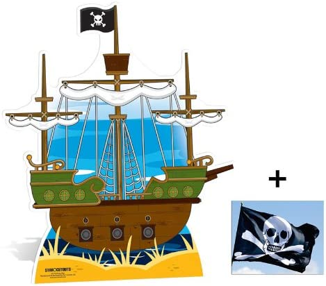 Pirate Ship Large Cardboard 2D Standup Fan Pack Cutout Plus 20x25cm Photo
