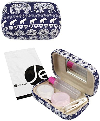 JAVOedge Blue Elephant Print Contact Lens Carrying Case with Mirror, Tweezer, and Bottle