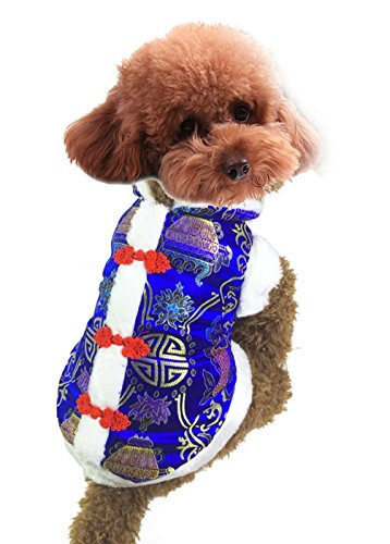 SELMAI Dog Chinese Costume Pet Coats Winter Vest Down Jacket New Year Tang Small Dog Clothes Pattern Blue -
