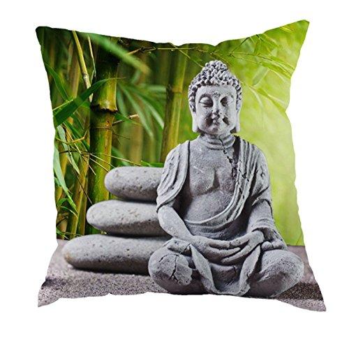 dodola Decorative Throw Pillow Covers Buddha Bamboo Cotton Linen Cushion Covers for Spa Meditation Yoga Room Decor 4Pcs by dodola (Image #2)