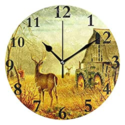 Dozili Deer in Late Autumn Round Wall Clock Arabic Numerals Design Non Ticking Wall Clock Large for Bedrooms,Living Room,Bathroom
