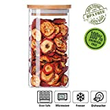 Glass Cookies Jar Airtight Container with Bamboo Lid, Kitchen Canisters Dry Food Storage (600ml/20oz)