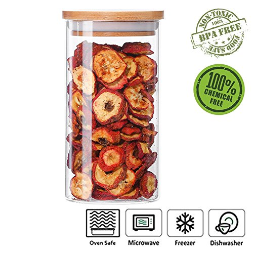 - Glass Cookies Jar Airtight Container with Bamboo Lid, Kitchen Canisters Dry Food Storage (600ml/20oz)