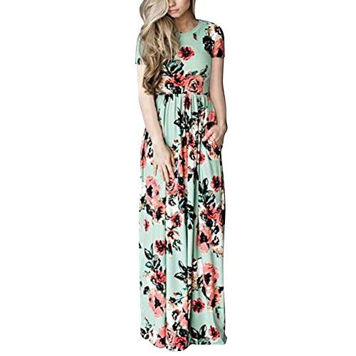 - HOOYON Women's Casual Floral Printed Long Maxi Dress with Pockets(S-5XL),Green Short,XX-Large