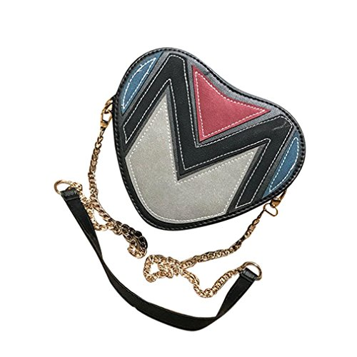 Patchwork Handbag Purse - ❤️Women Handbag, Neartime Fashion Cute Heart Shaped Shoulder Messenger Bag Small Crossbody Bags Patchwork Wallet (19cm(L)16cm(W)9cm(H)/7.5(L)6.3(W)3.6(H)'', Black)