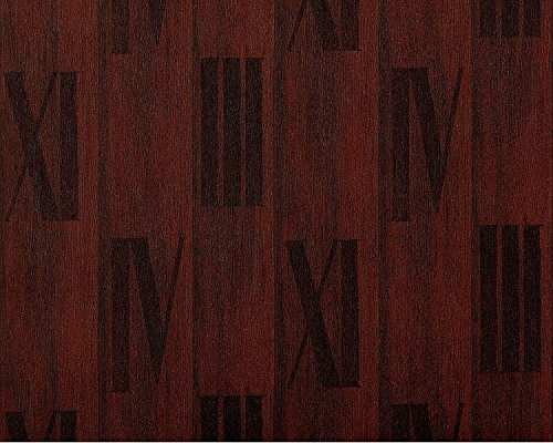 (Wallpaper wall wood planks non-woven EDEM 945-26 Nature textured roman numbers walnut tobacco brown 10,65 sqm (114 sq ft))