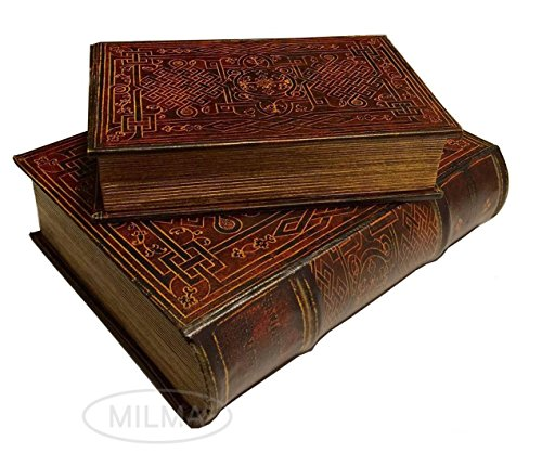 Celtic Eternal Knot Secret Book Box Set of 2 Hidden Storage Jewelry Box Set (Nesting Book Boxes)