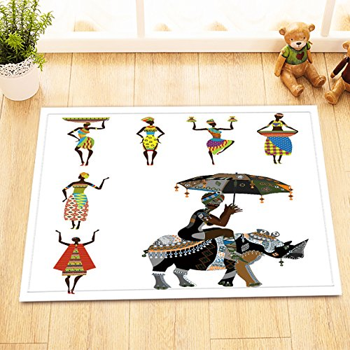 LB African Tribal Women in Traditional Costume Decor Rugs for Bathroom Bedroom, Soft Absorbent Flannel Safe Rubber Backing, Black Art Theme House Decor Rug 15 x 23 (Egyptian Cat God Costume)