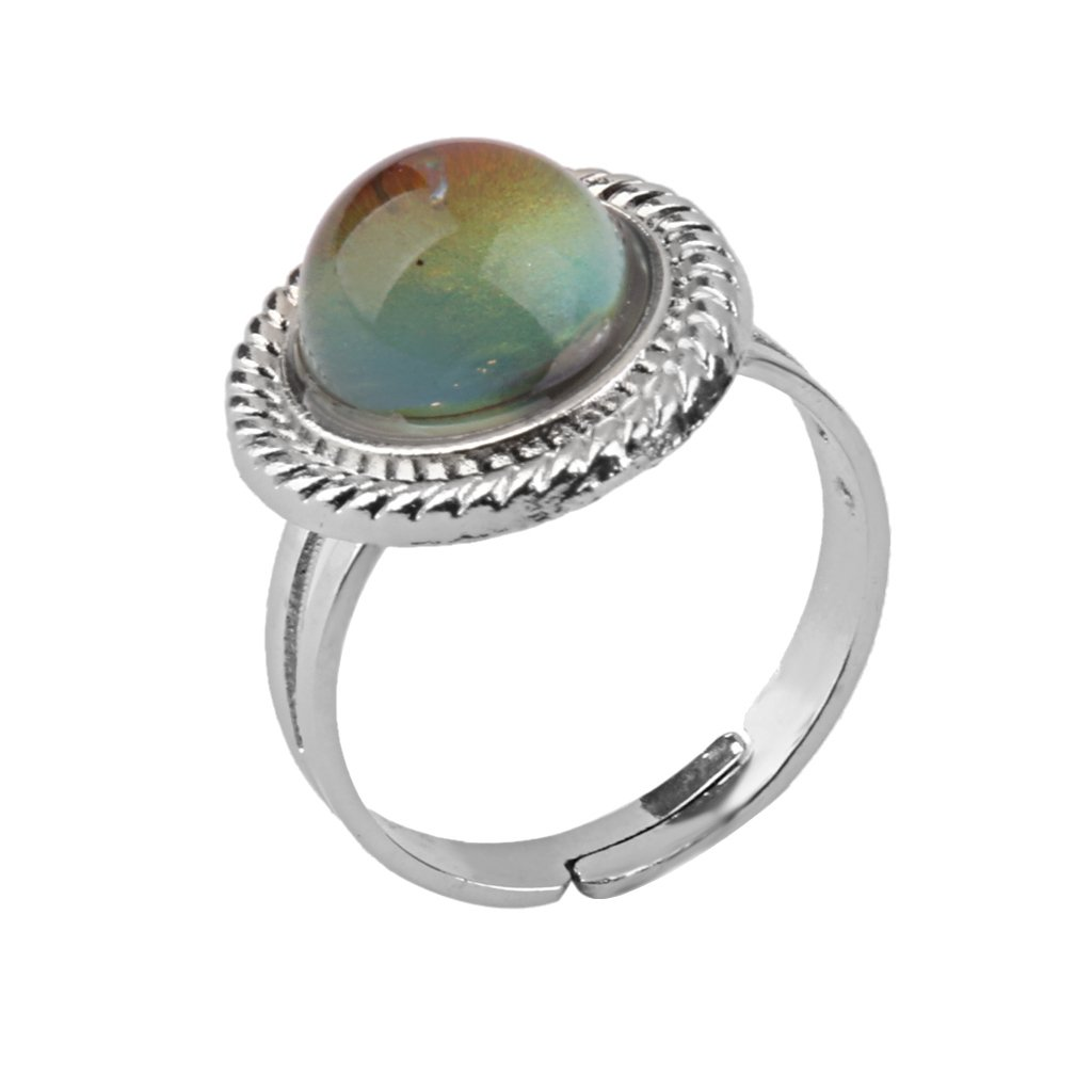 MagiDeal 2 Pieces// Pack Oval Pattern Silver Color Retro Style Color Changing Mood Emotion Feeling Ring Unisex Decorations