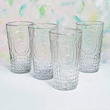 Tumbler Drinking Cups, 6 in. tall Vintage Pressed Glass, Clear, 4 pk
