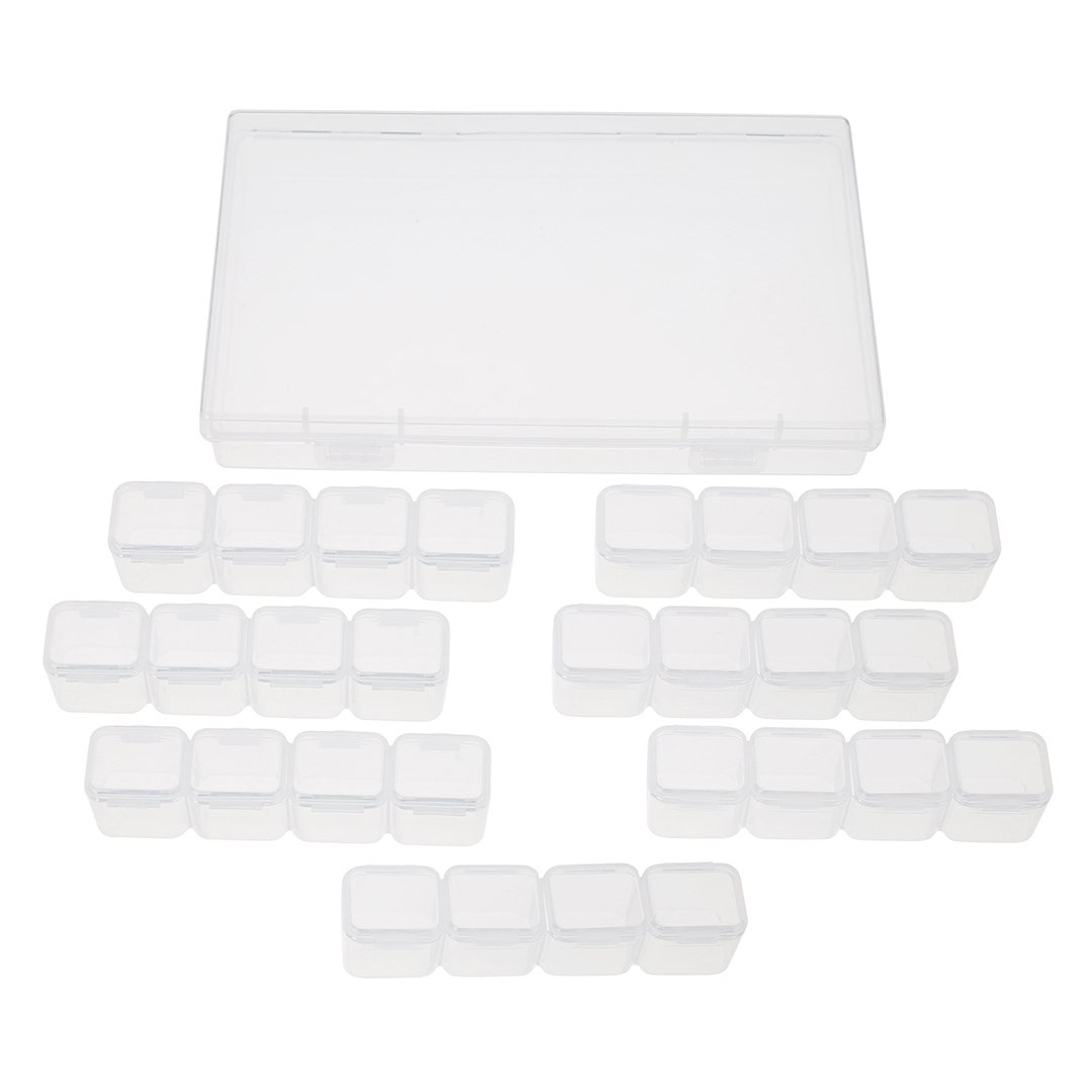 2 Pcs Plastic Storage Box Jewelry Bead Case Art Makeup Container Earring Organizer Box Adjustable Removable 28 Compartments Grids