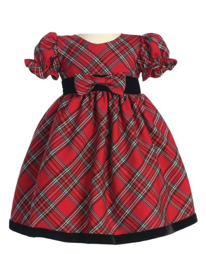 Lito Special Occasion Holiday Christmas New Year Girl's Red Plaid Dress Toddler 2T