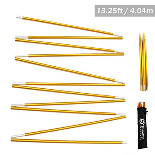 Azarxis Tent Pole Repair Kit Splint Support Kit Replacements Aluminum Rod Adjustable Replacement Poles Accessories for Camping Hiking Backpacking Tent - Pack of 2 (Gold - 13.25ft)