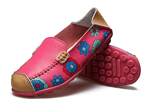 Eagsouni Womens Flower Printed Slip On Leather Casual Loafers Driving Dancing Boat Shoes Flat Pumps Rose Red ClHScfcd