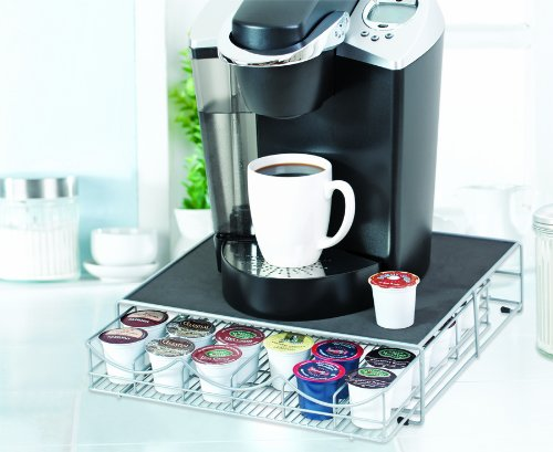TOTALLY LIVING STORAGE DRAWER FOR KEURIG COFFEE PODS - HOLDS 36 PODS - SILVER