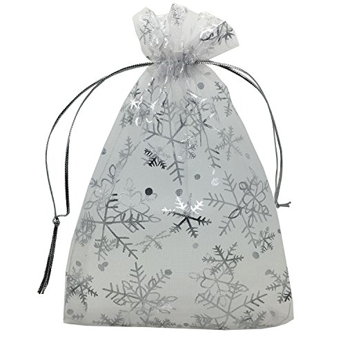 YIJUE 100pcs 5x7 Inches Drawstrings Organza Gift Candy Bags Wedding Favors Bags (Snowflake) ()