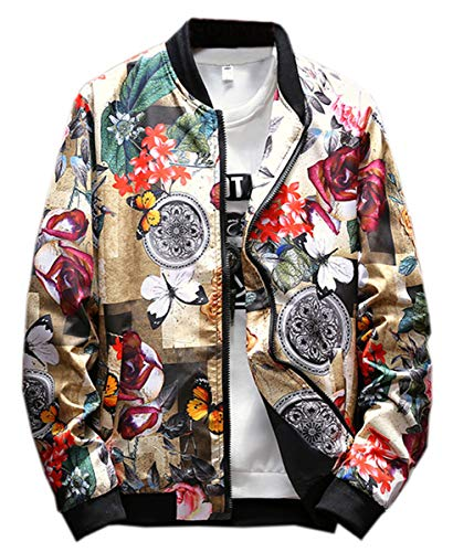 - Men's Jacket, Floral and Butterfly Print Zip Up Jacket Coat Outerwear for Men, 21# Color, US Small/36 = Tag L