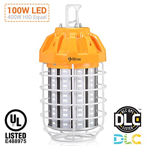 100W LED Drop Light For 400-500W HID/HPS/MH Replacement, 13,500 Lumens, Spring Loaded Safety Latch, High Bay Lighting, Wire Guard, 100-277VAC Rated, UL Listed & DLC Qualified (5000K Cool White) by HTM Lighting Solutions