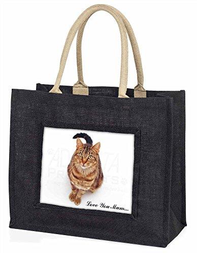 Advanta ac-167lymblb braun gestromt Katze Love You Mum Große Einkaufstasche/Weihnachtsgeschenk, Jute, schwarz, 42x 34,5x 2cm