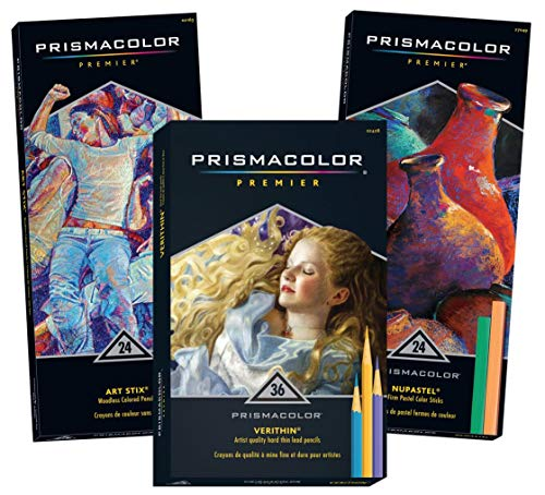 - Prismacolor Premier 24-Count Art Stix Colored Pencils, 36-Count Verithin Colored Pencils & 24-Count NuPastel, Total of 84