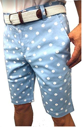 【NewEdition GOLF®】ゴルフパンツ メンズ ストレッチ クローバープリント ハーフパンツ ゴルフウエア 半パン 短パン 全4色5サイズNEG-034