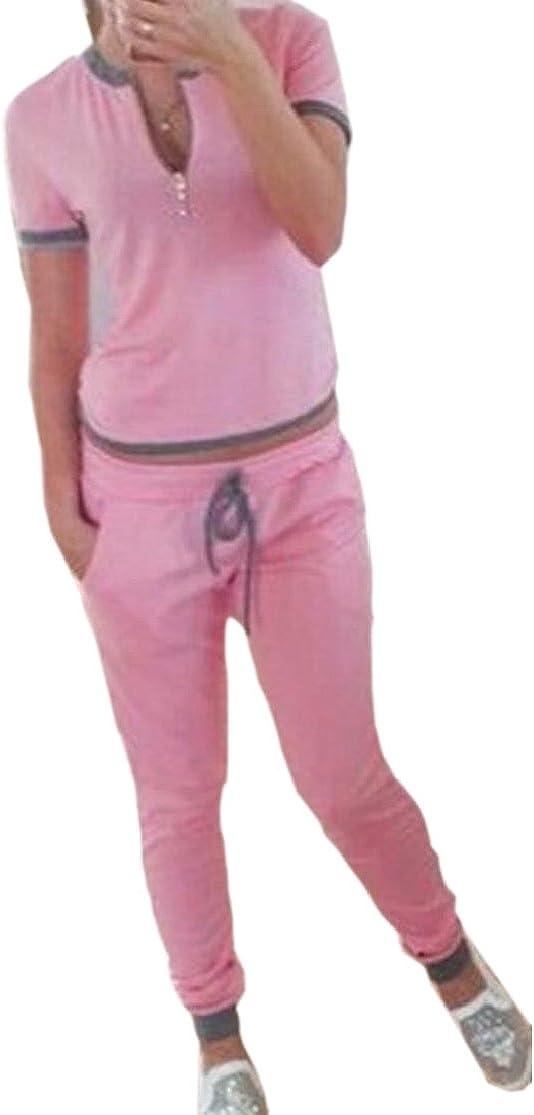 M/&S/&W Women Short SleeveBlouse Top Pants Jumpsuits 2 Piece Outfits Tracksuit