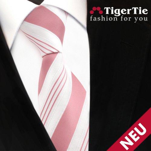 TigerTie satin cravate rosé vieux rose blanc argent rayé - Tie