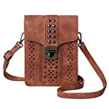 MINICAT Women Hollow Texture Series Crossbody Bag Cell Phone Purse Wallet (Brown-Wider)